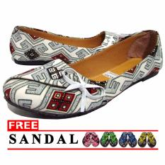 LT Flat Shoes Balet Batik - Putih