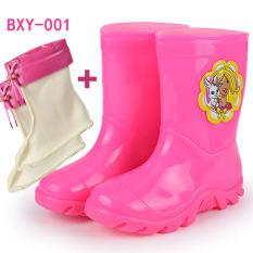 LTMS anak-anak sepatu boots hujan Pria dan wanita anak Sedang sepatu bot hujan Imut Kartun Anti Selip Petpet sepatu anti air Lebih tebal anak Sepatu karet