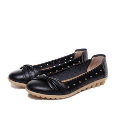 Perempuan Sandal Musim Panas Model Crocs Rambut Sepatu Kulit Teplek Mama Kulit Kupu-Kupu Simpul (Hitam)