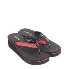 Harga Lubrene Sandal Jepit Wedges Wanita Naura L Black Red Size 36 40 Lubrene Terbaik