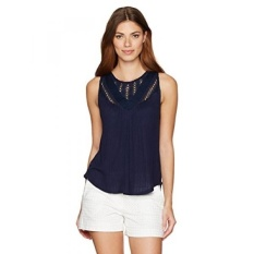 Lucky Brand Womens Mixed Lace Yoke Tank Top, American Navy, X-Small - intl