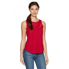 Lucky Brand Womens Mixed Lace Yoke Tank Top, Cerise, - intl