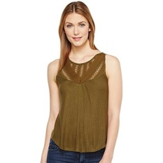 Lucky Brand Womens Mixed Lace Yoke Tank Top, Dark Olive,-Intl