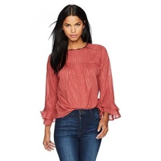 Lucky Brand Womens Swiss Dot Bell Sleeve Top, Washed Rose, L - intl