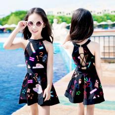 Lucu Bayi Perempuan Children Rok Siam Berenang Baju Renang Baju Renang (Hitam)