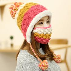 Jual Beli Lucu Gadis Topi Musim Dingin Syal Kerah Topi Wol Korea Ditambah Kuning Rose Topi Masker