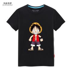 Jual Cepat Luffy Pria Leher Bulat Lengan Pendek T Shirt Luffy Hitam