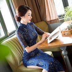 Beli Luna Story Fashion Gaya Slim Retro Renda Gaun Panjang Bagian Cheongsam Maxi Gaun Formal Gaun Murah