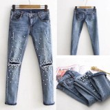 Beli Lunar Valley New Popular Women Fashion Jeans Hancur Robek Pearled Tipis Celana Denim Celana Girlsfriend Jeans Biru Muda Int L Intl Lunar Valley Asli