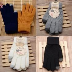 Diskon Besarlunar Valley Newest Hot Products Women S Women Lovely Magic Wrist Mittens Touch Screen Five Finger Plaid Gloves Autumn Winter Warm Wool Gloves Grey Intl