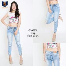 Toko Lunashop Fashion Celana Wanita Jeans Sobek Gyoza Crop Destroy Ukuran 27 30 Online Dki Jakarta
