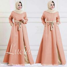 lunashop fashion wanita maxi lucia warna peach pakaian gamis model terrbaru