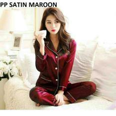 Beli Lunashop Fashion Wanita Model Satin Warna Maroon Tangan Panjang Online Terpercaya