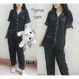 Spesifikasi Lunashop Fashion Wanita Pakaian Baju Tidur Model Piyama Model Satin Celana Panjang Warna Hitam Dan Harganya