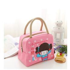 Lunch Bag Cooler Bag Motif gadis jepang pink Tas Bekal Makanan Panas Dingin atau Tas Asi