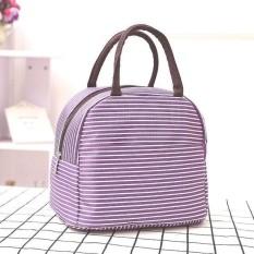 Lunch Bag Cooler Bag Motif Salur/Garis Tas Bekal Makanan Panas Dingin atau Tas Asi - Garis Ungu Bes