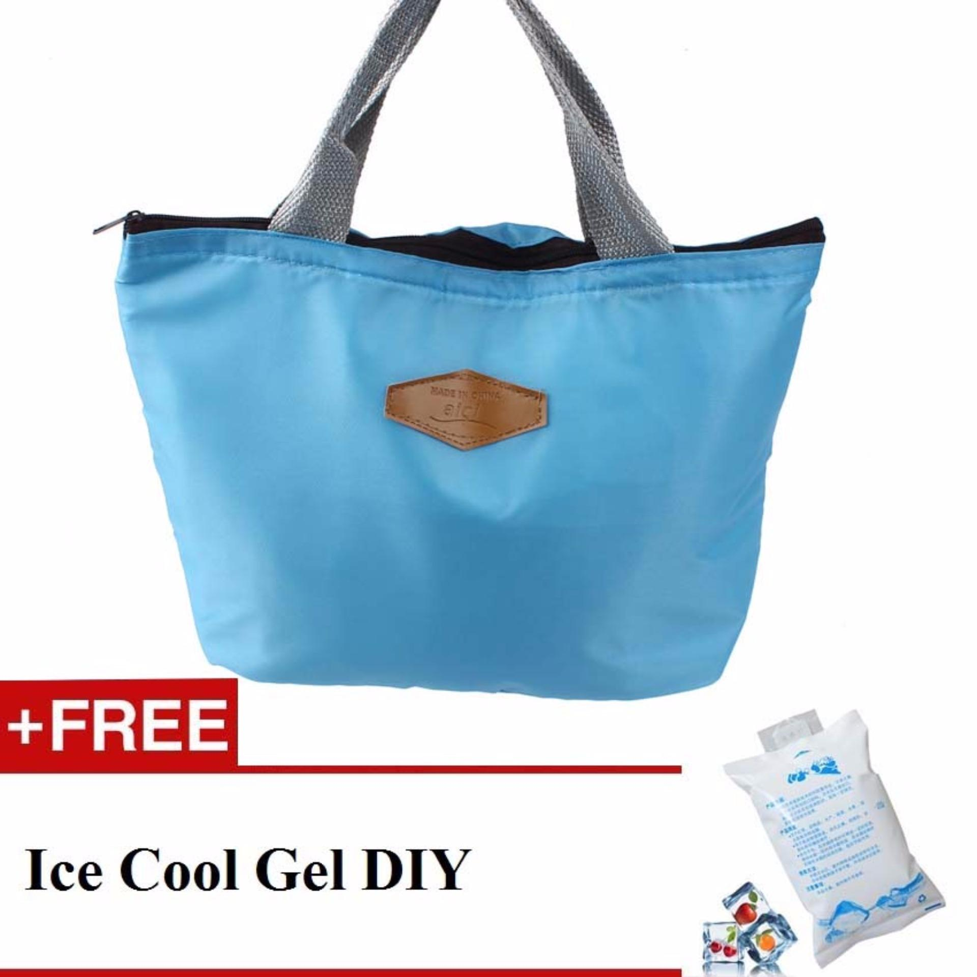 Easy to carry strap handle Lunch Bag Thermal Cooler Insulated 2nd Gen - Biru Muda + Free Ice Cool Gel DIY