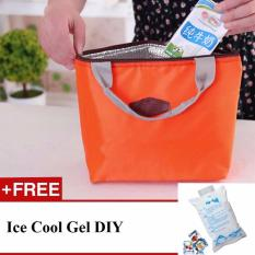 Lunch Bag Thermal Cooler Insulated 2nd Gen - Orange + Free Ice Cool Gel DIY