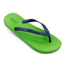 Luofu Kasual Laki-laki Sendal Jepit Kaki Tergelincir Sepatu Datar (Biru Tua Nike Di Hijau)