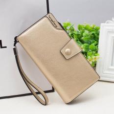 LWS Wanita Fashion Dompet Multifungsi Panjang Dompet Zipper Kapasitas Besar Perubahan Tas Ponsel (Warna: Emas) -Intl