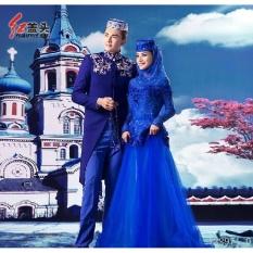 LWS Muslim Pria Sutra Satin Setelan Pernikahan Jubahs Beberapa Gaun Pernikahan (Warna: Biru) Satu Ukuran-Intl