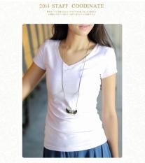 Likra Putih Perempuan V Leher Lebar Baju Dalaman Ramping Lengan Pendek Kaos (Putih Leher-v)