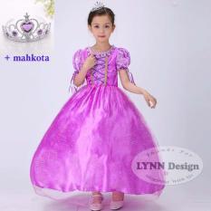 Ulasan Tentang Lynn Design Baju Dress Gaun Pesta Kostum Anak Rapunzel Premium Mahkota