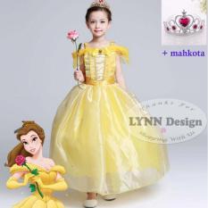 Lynn Design -Dress Baju Kostum Anak Gaun Princess Belle + Mahkota (Beauty & The Beast)_Frozen Friends