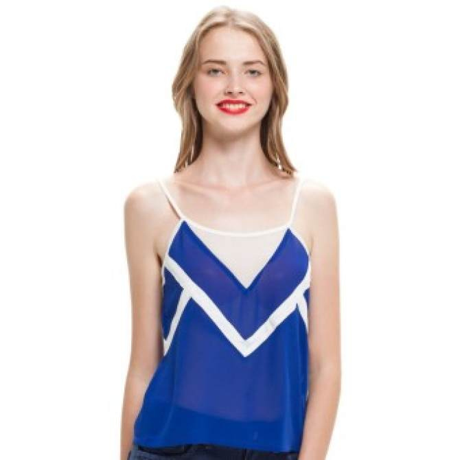 LZD Camisole Top With Binding Detail - Blue