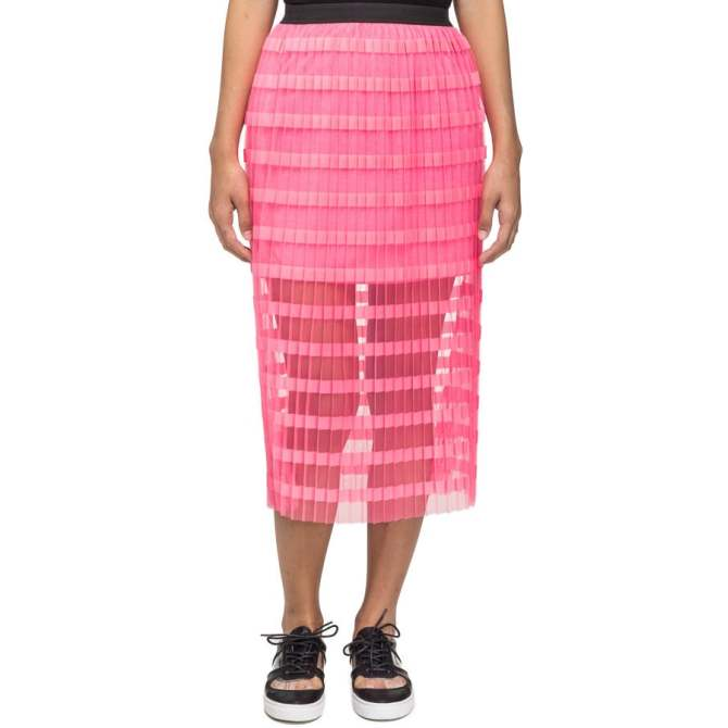 LZD Double Layer Pleated Midi Pink