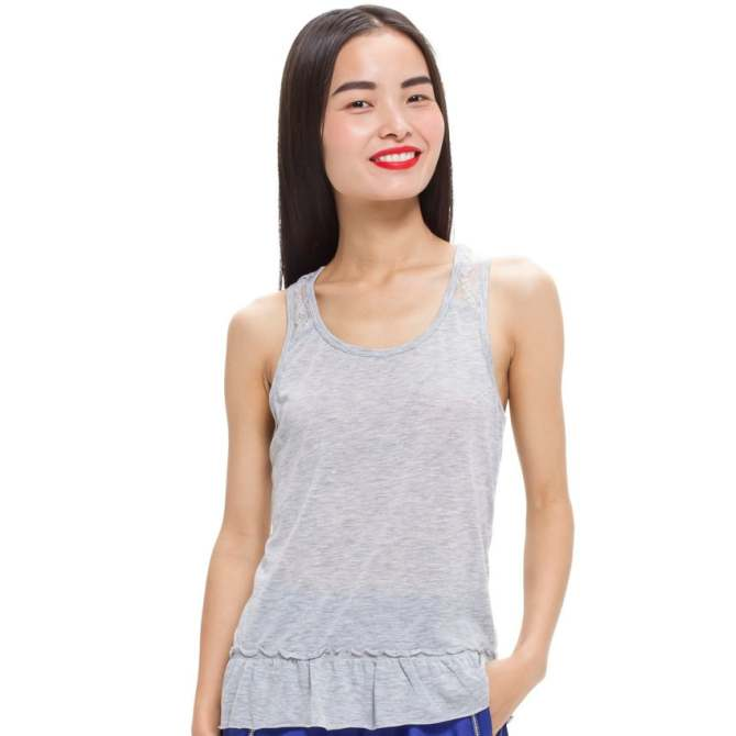 LZD Racerback Top With Frill Hem - Grey