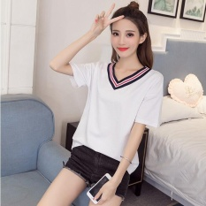 M-Y Murni Cotton V Collar T-shirt-putih-Intl