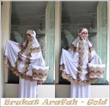 Toko Madeena Mukena Spandek Sutra Brukat Arafah Gold Online Jawa Barat
