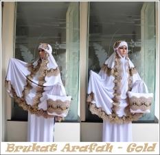 Jual Madeena Mukena Spandek Sutra Brukat Arafah Gold Baru