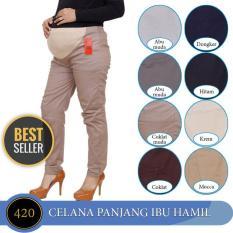 MAG420 Celana hamil 4-9 Bulan Pinggang Karet Celana Kerja Ibu Hamil