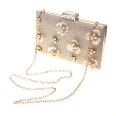 MagiDeal Pernikahan Rose Bunga Clutch Bag Bridal Satu Bahu Aslant Dompet Tas Tangan Emas-Internasional