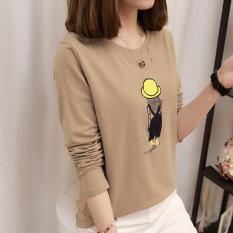 Beli Lengan Panjang T Shirt Atasan Korea Fashion Style Longgar Siswa Khaki Lengkap