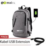 Mairu 0219 Tas Ransel Smart Backpack Usb Port Charger Grey Dki Jakarta