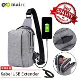Top 10 Mairu Dxyizu 329 Tas Selempang Pria Anti Maling Messenger Sling Bag Import With Usb Charger Support For Iphone Ipad Mini Xiaomi Samsung Tab Tablet 8 Anti Theft Online