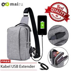 Mairu 329 Tas Selempang Pria Anti Maling Messenger Sling Bag Import With  USB Charger Support  For