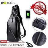 Jual Beli Online Mairu Sb L Tas Selempang Kulit Pria Polos Messenger Leather Sling Bag Import With Usb Charger Support For Iphone Ipad Mini Xiaomi Samsung Tab Anti Maling