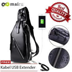 Mairu SB-L Tas Selempang Kulit Pria Polos Messenger Leather Sling Bag Import With  USB Charger Support  For Iphone Ipad Mini Xiaomi Samsung Tab Anti Maling