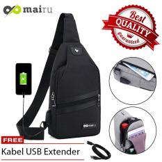 Mairu SB-USB Tas Selempang Pria Anti Maling Messenger Sling Bag Import With  USB Charger Support  F