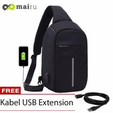 Mairu Tas Selempang Sling Bag Anti Maling Cross Body With  USB Charger Support  For Iphone Ipad Mini Samsung Tab Tablet 10'' Model XD - Black
