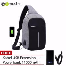 Mairu Tas Punggung Shoulder Bag Cross Body With USB Charger Support For Iphone Ipad Mini Samsung Tab Tablet 10'' Model XD Bobby Sling Bag - Grey + Free Acetech Power Bank 11000mAh Hitam