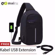 Mairu Tas Punggung Shoulder Bag Cross Body With  USB Charger Support  For Iphone Ipad Mini Samsung Tab Tablet 10'' Model XD Bobby Sling Bag Hitam