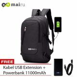 Harga Mairu Tas Ransel Laptop Backpack Support Usb Port Charger Anti Air 0219 Black Free Power Bank 11000Mah Di Indonesia