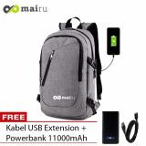 Mairu Tas Ransel Laptop Backpack Support Usb Port Charger Anti Air 0219 Grey Free Power Bank 11000Mah Diskon Indonesia