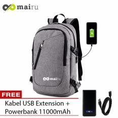 Diskon Produk Mairu Tas Ransel Laptop Backpack Support Usb Port Charger Anti Air 0219 Grey Free Power Bank 11000Mah
