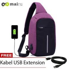 Mairu Tas Selempang Sling Bag Anti Maling Cross Body With  USB Charger Support  For Iphone Ipad Mini Samsung Tab Tablet 10'' Model XD Dark Purple
